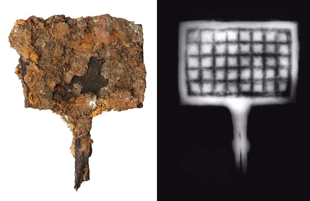 Waffle making tongs burned during the Great Fire of London, and an X-ray showing their original structure