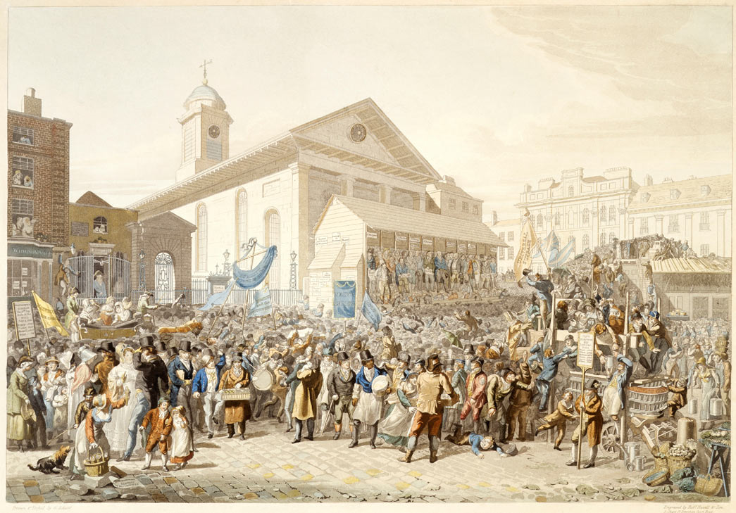 Election of members of Parliament for Westminster. Hand coloured etching with aquatint. An assembled crowd outside St Paul's Church, Covent Garden with a wine shop to the left. In front of the church's portico is a temporary raised wooden structure, under whose awning are the various members competiting for the seats huddle.