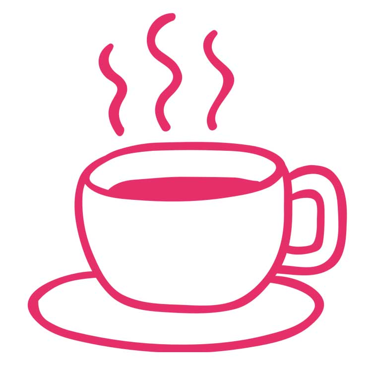 Illustration of a steaming mug in pink on a white background.