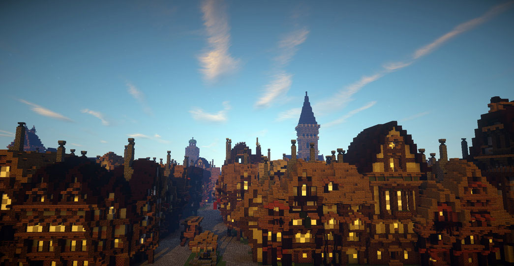 Screenshot of Minecraft Great Fire 1666 map showing London before the Great Fire.