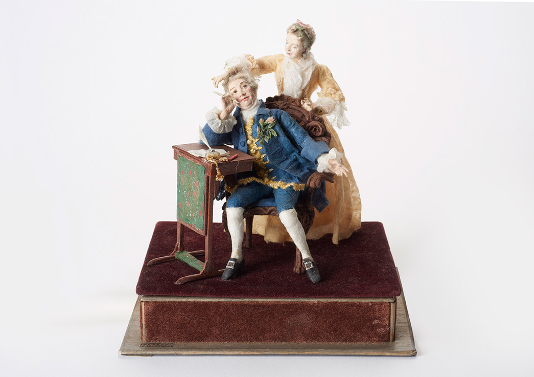 Model of David Garrick and his wife, 1952. Made by Judith Ackland.