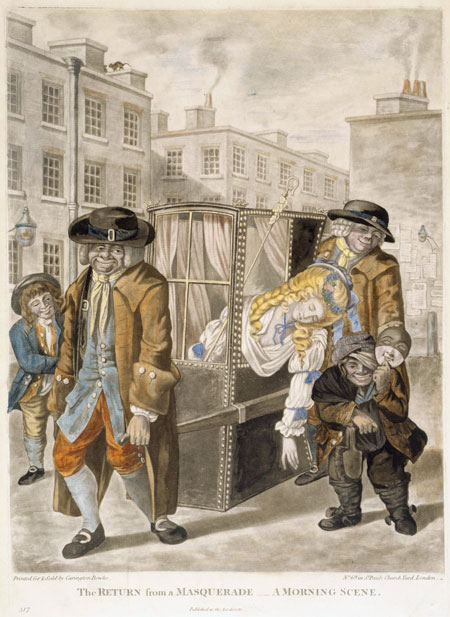 'The return from a masquerade - a morning scene'. A young lady dressed as a shepherdess with staff slumps in a sedan chair. Asleep or drunk, her head and shoulders hang out of the side window. The two porters smile and a dwarf chimney sweep carries a mask.
