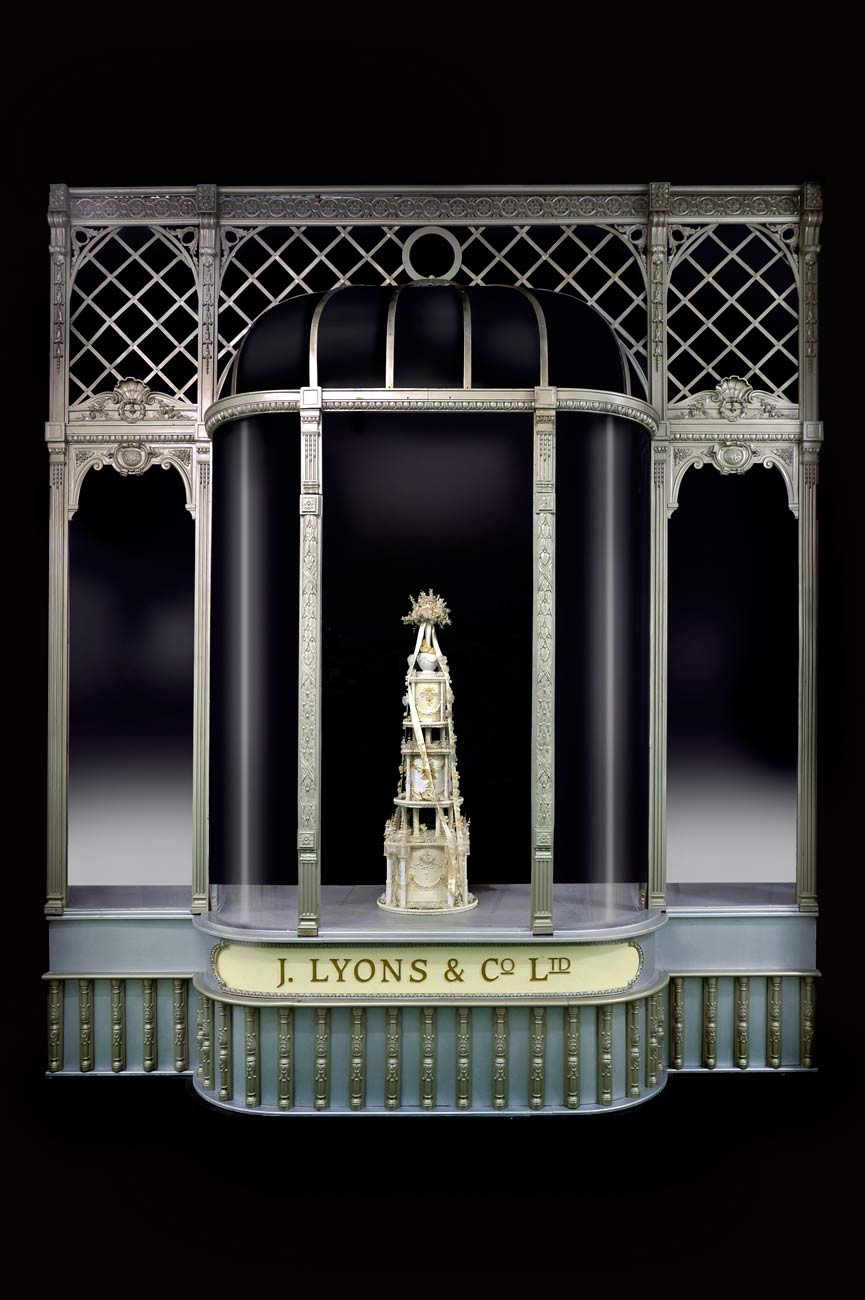 Facade of the Lyons corner shop on display in the Museum of London People's City gallery.