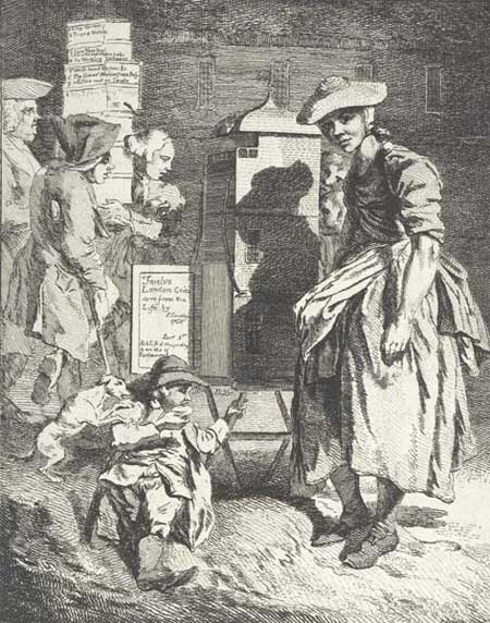 This is the title page from Paul Sandby's print series 'Twelve London Cries of London done from the Life'. The young woman provides street entertainment in the form of a peep show, whilst a boy munches a pie at her feet. Behind her, a man limps past on crutches and a porter carries boxes which bear the titles of some of the prints contained in the series.