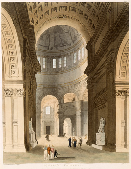 St. Paul's Cathedral. Coloured aquatint with etching. Published in from the
