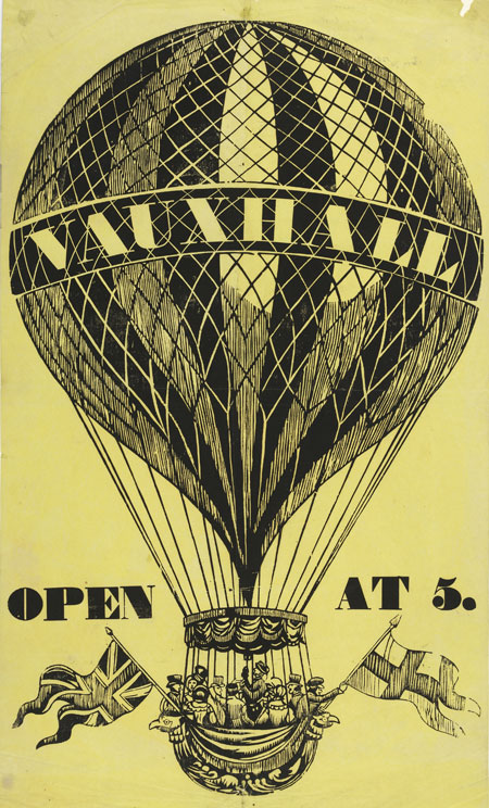Poster advertising balloon flights at Vauxhall Pleasure Gardens.