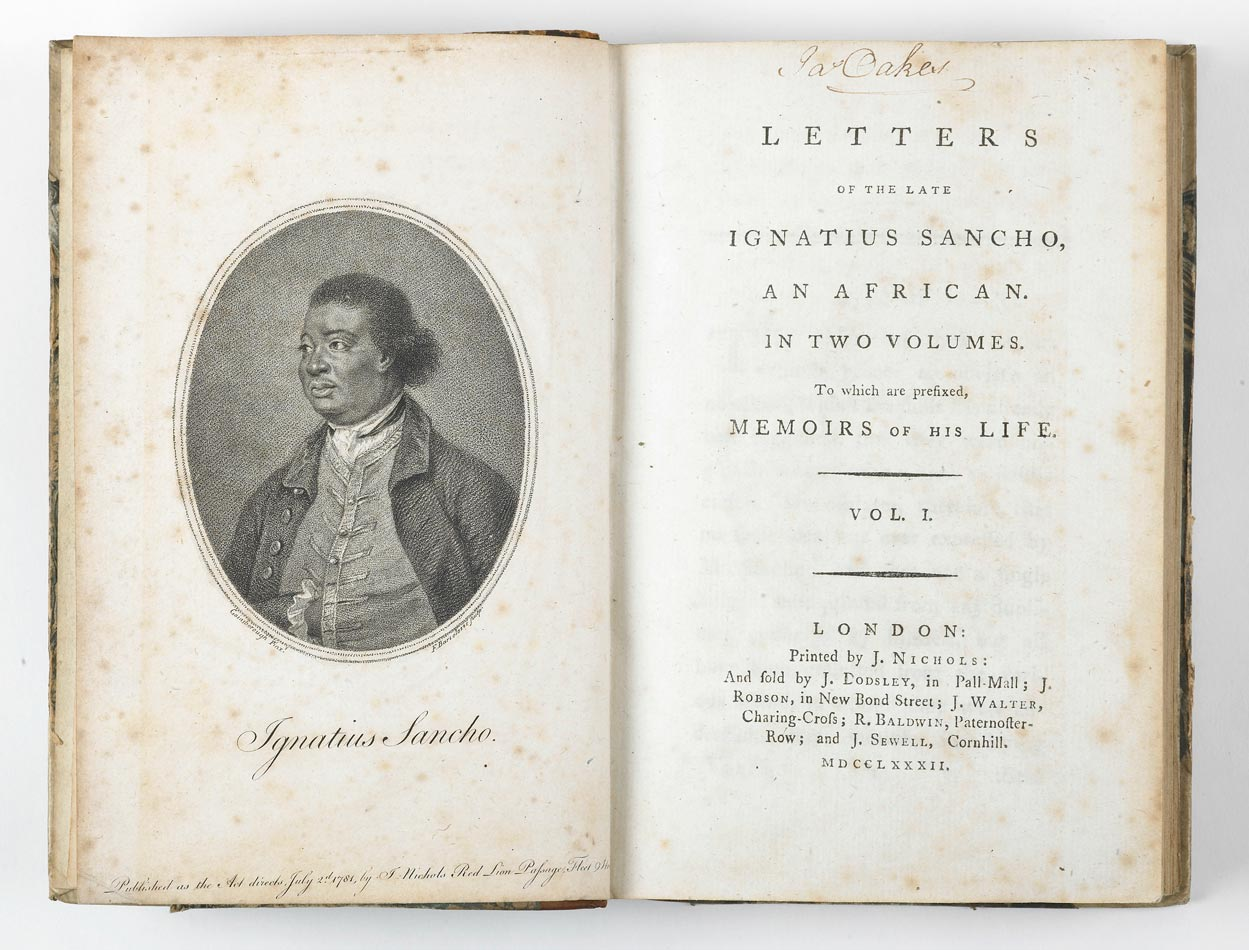 The interesting life of Ignatius Sancho, book published in London 19th century.