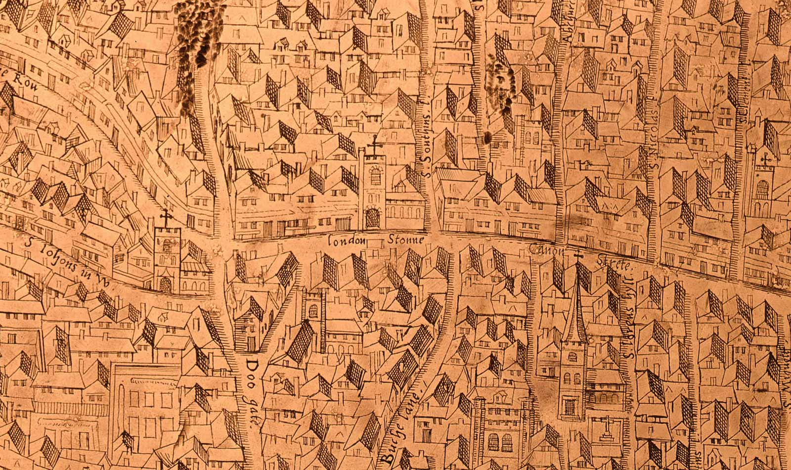 The London Stone shown on the first copperplate map of London, 1558.