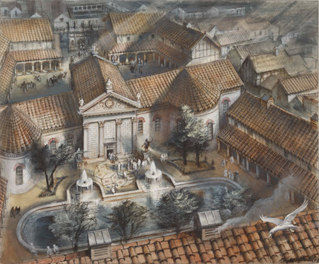 Artist's impression of the Roman governor's palace that stood on what is now Cannon Street, by Alan Sorrell.