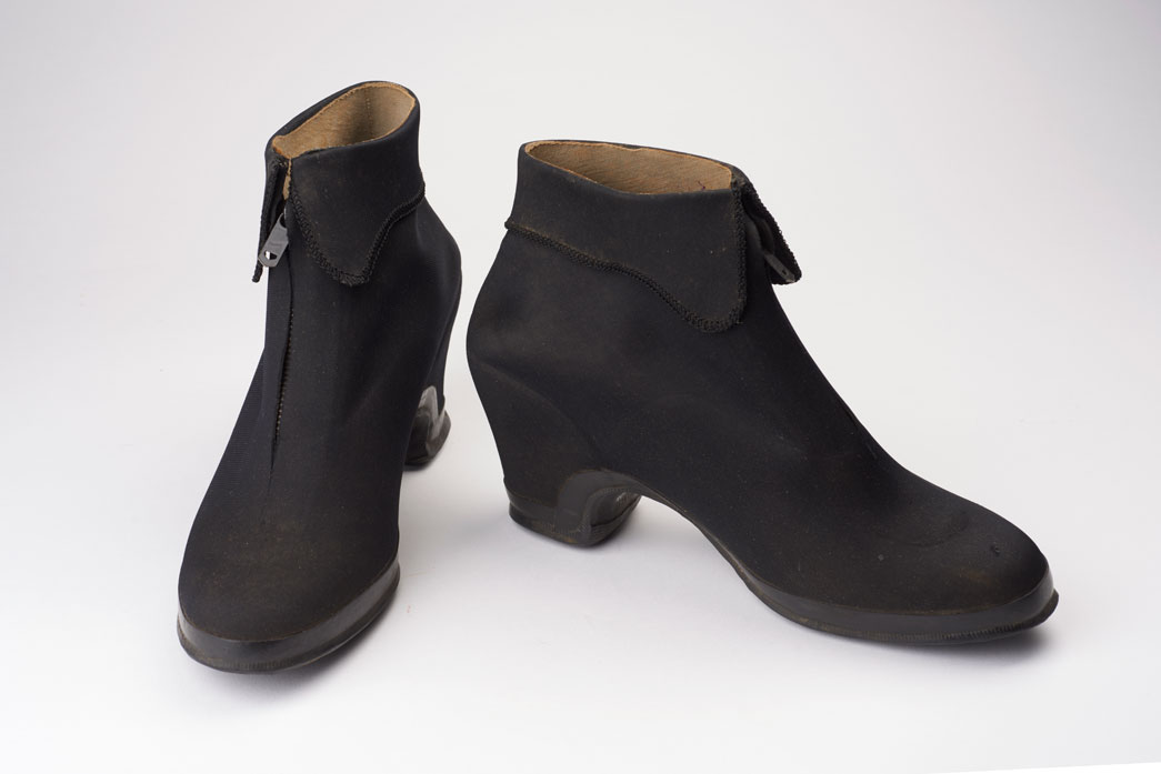 These overshoes were worn by 14 year old Lillian Nash (nee Capp) over her heeled court shoes to keep her feet dry during the severe winter of 1939-40.
