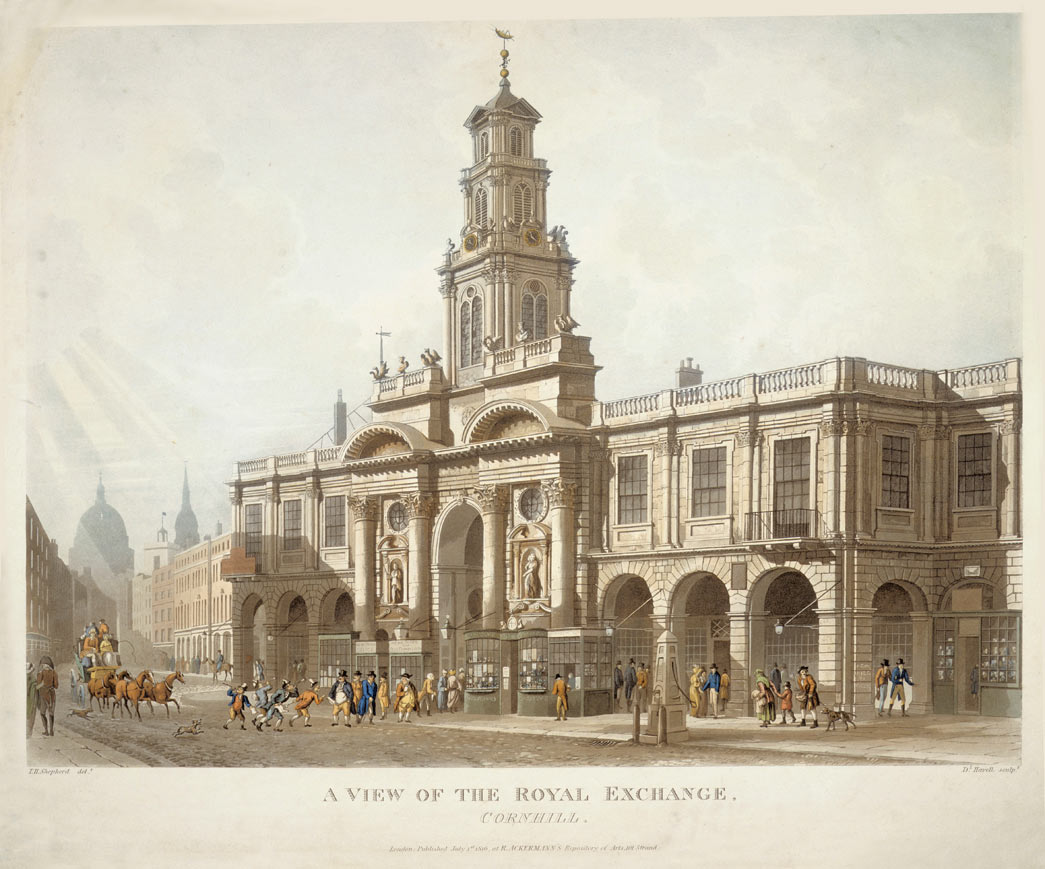A View of the Royal Exchange, Cornhill. A coloured aquatint of The Royal Exchange, published by Ackermann's Repository of Arts, 1 July 1816.
