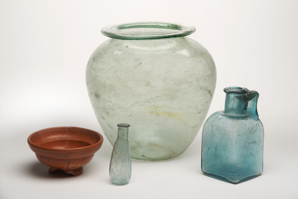 Roman glass vessels used as cremation urns.