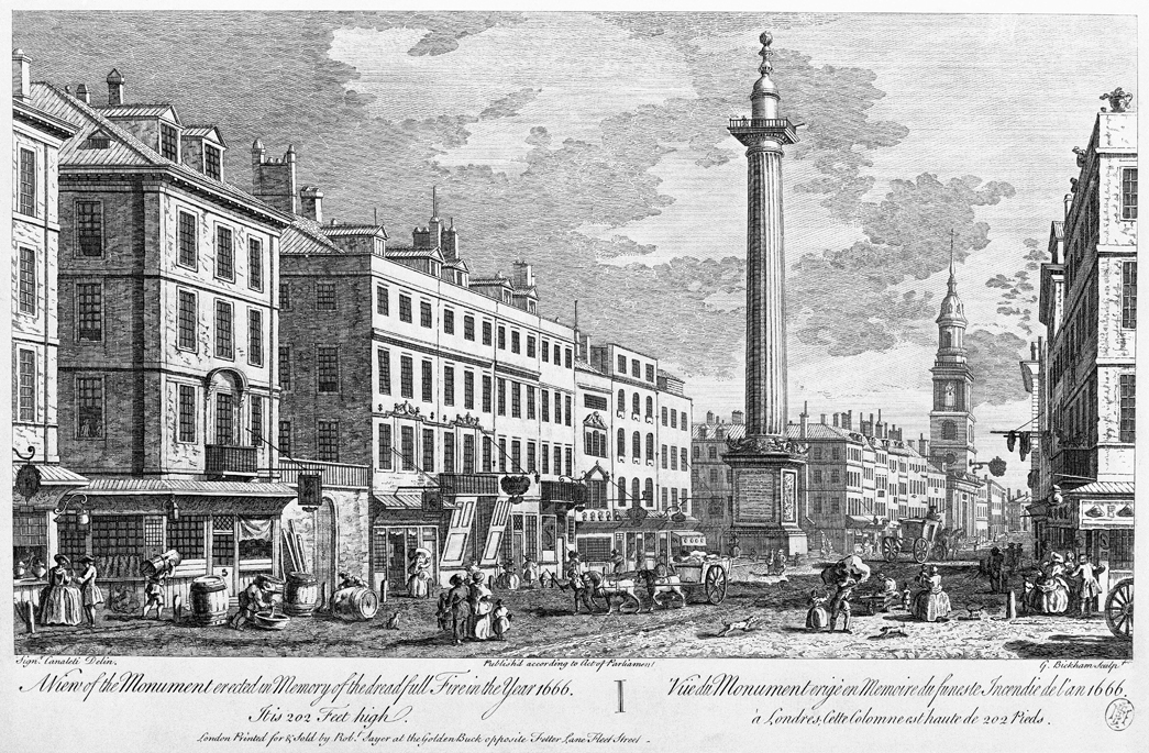 A View of the Monument erected in Memory of the dreadfull Fire in the Year 1666. It is 202 Feet high. View of The Monument, with a lively street scene. Engraving.