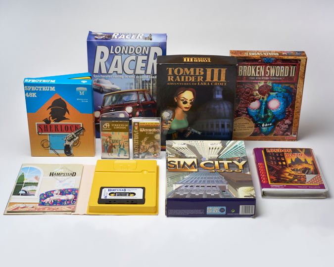 A selection of video games depicting London recently added to the museum's collection.