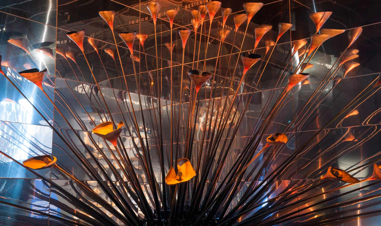 The London 2012 Olympic Cauldron on display with its petals open and splayed.