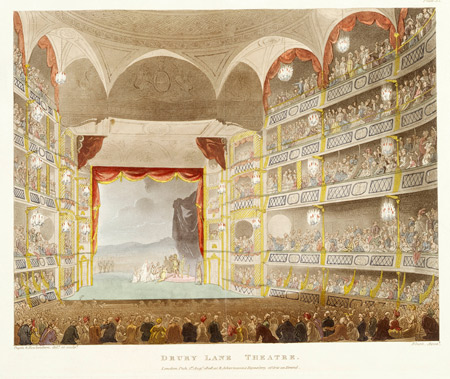 Interior view of the Drury Lane theatre filled with an audience watching a performance in progress. Coloured aquatint.
