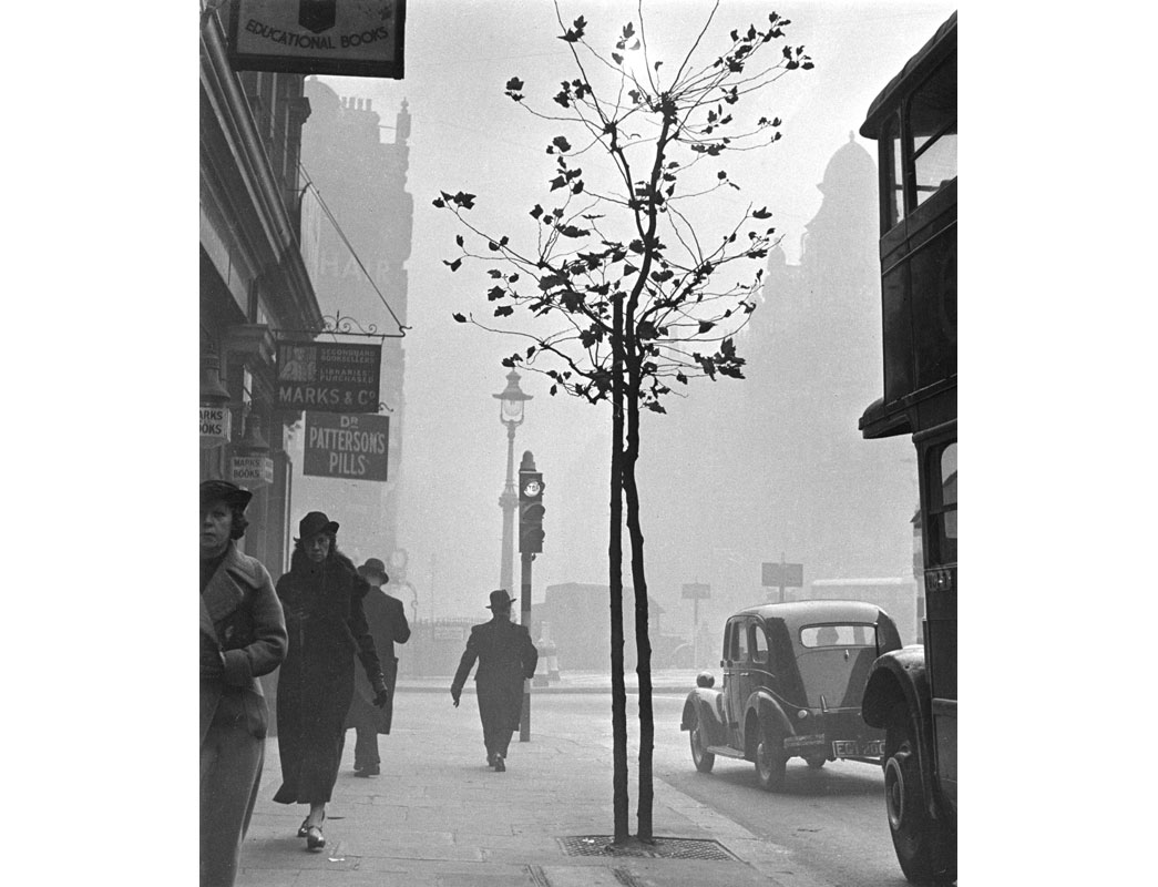 Charing Cross, Cambridge Circus in smog. The legendary pea-souper - thick fog that London endured for centuries is illustrated in this photo taken near Cambridge Circus. Standing outside the second-hand booksellers Marks & Co at 84, Charing Cross Road, Wolf Suschitzky captured the atmosphere created by the heavy coal smoke of industry and domestic chimneys. People appear accustomed to the polluting smog that often surrounded them. However, such fogs did affect routine: poor visibility disrupted transport and consequentially many aspects of every day life in the capital. Suschitzky worked as a film cameraman in nearby Soho. Between his working hours, he created a series of photos depicting the activity in and around Charing Cross Road.