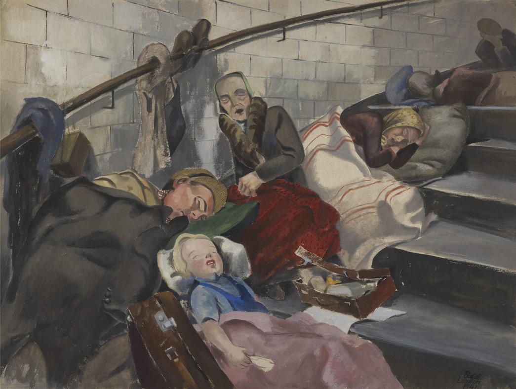 A war scene of shelterers sleeping on steps at Queensway Tube Station. Joseph Batò's watercolour depicts people sheltering on the stairs of Queensway Underground station during an air raid.