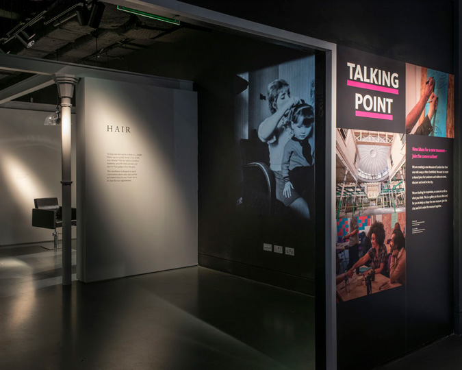 View of the Hair display in the Talking Points Gallery