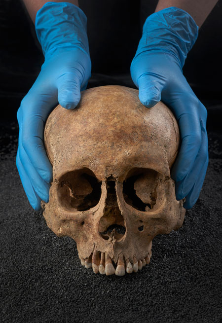 A Roman skull on display at the Museum of London Docklands.