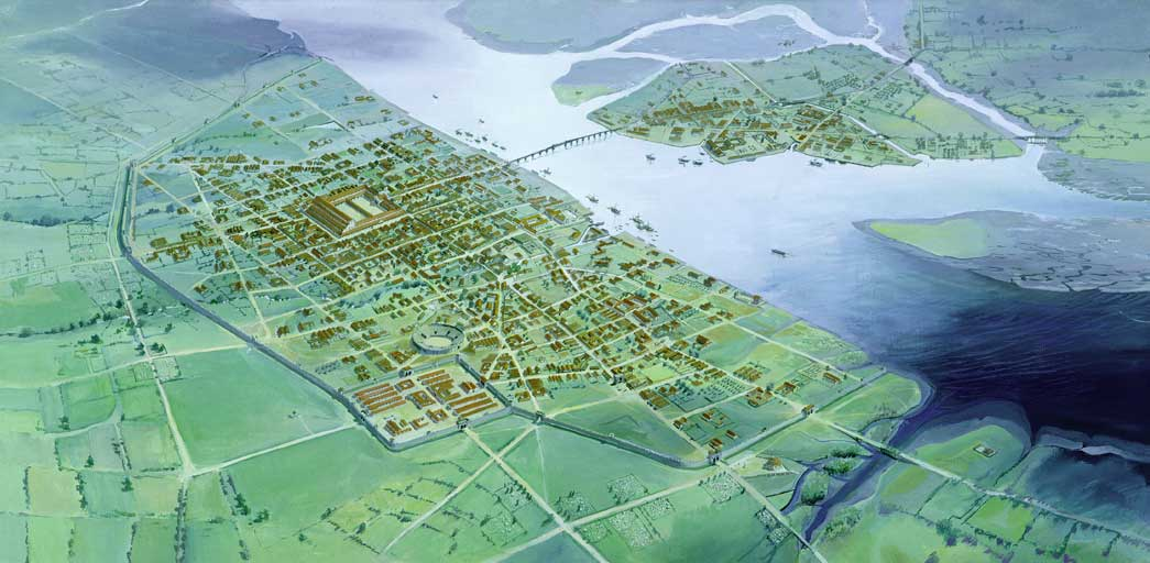 Reconstruction drawing of Roman London c. AD250. Panorama by Peter Foste. Roman London is in decline with fewer areas inhabited.