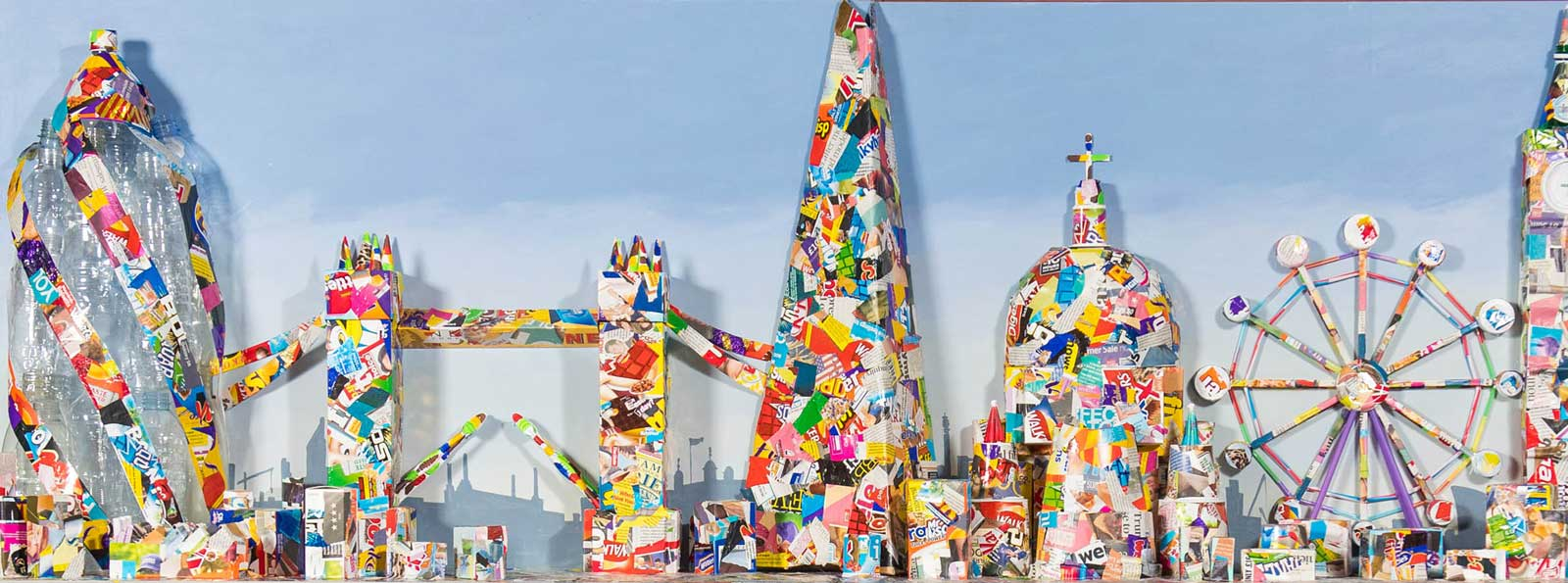 Skyline of London constructed from recycled litter.