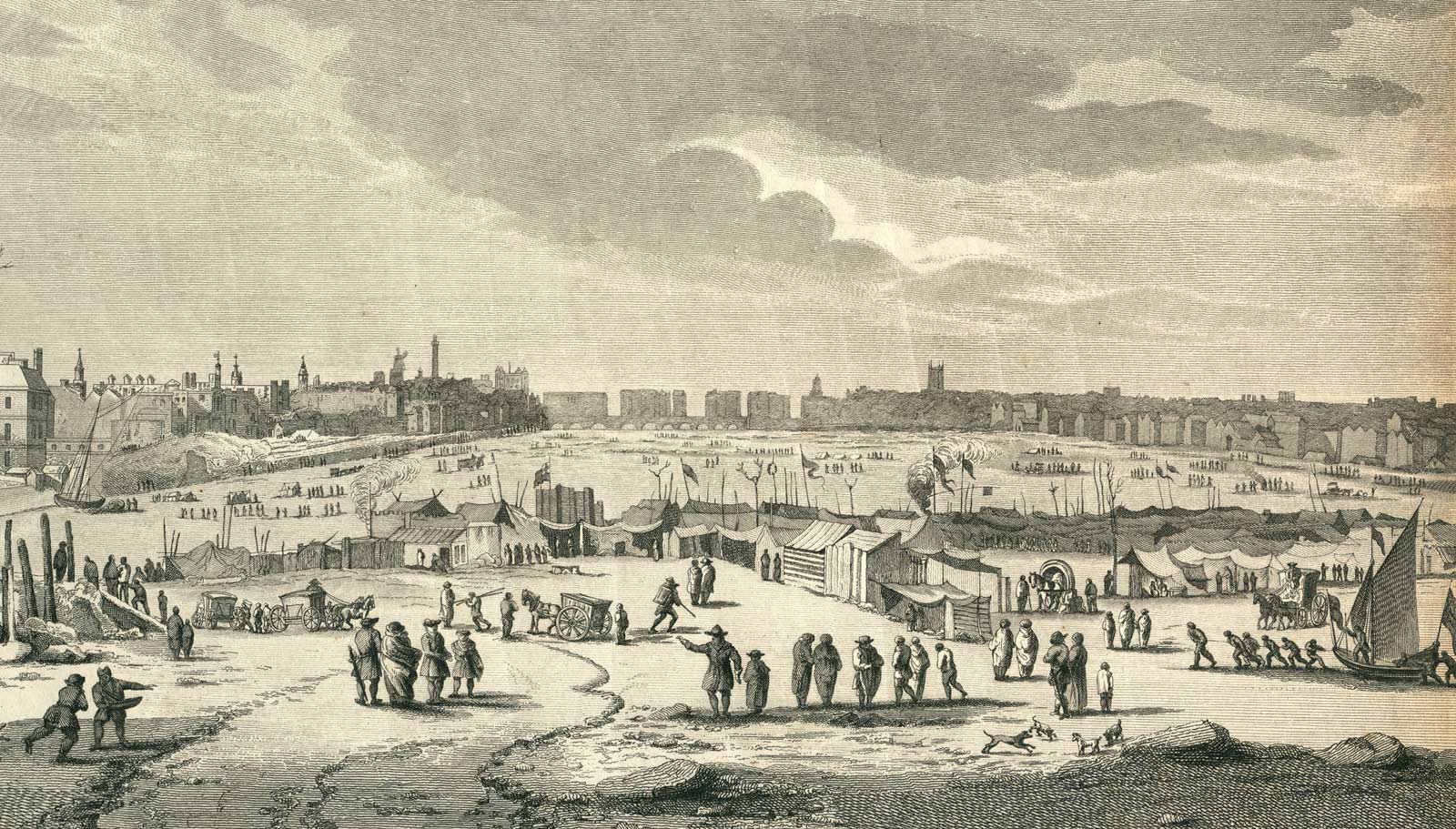 An engraving of the north west view of the Frost Fair on the River Thames during the Great Frost of 1683 and 1684..