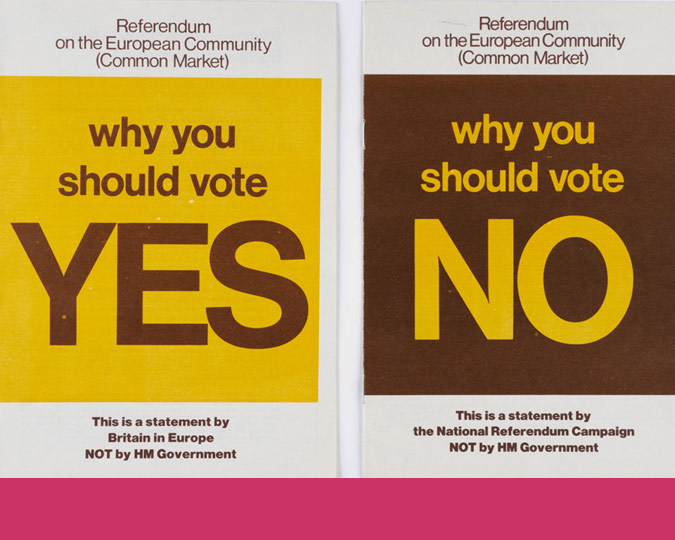 Leaflets for the Common market referendum of 1975.