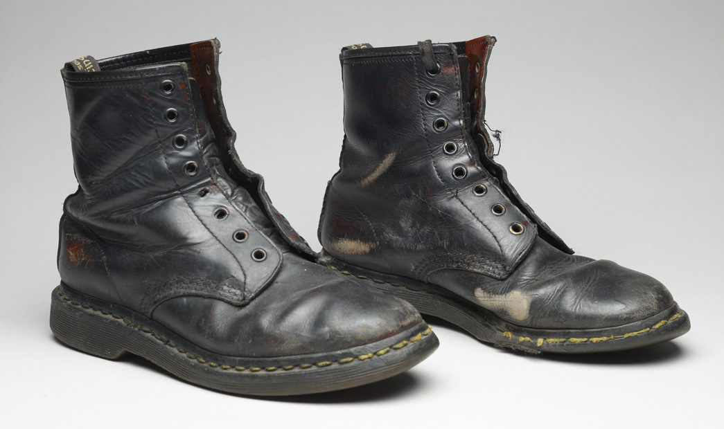Pair of Doc Marten boots featured in the Being Punk display.