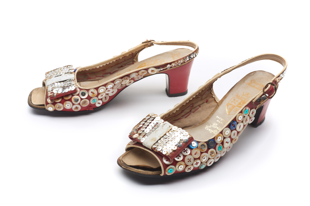 Pearly shoes decorated with sequins and buttons