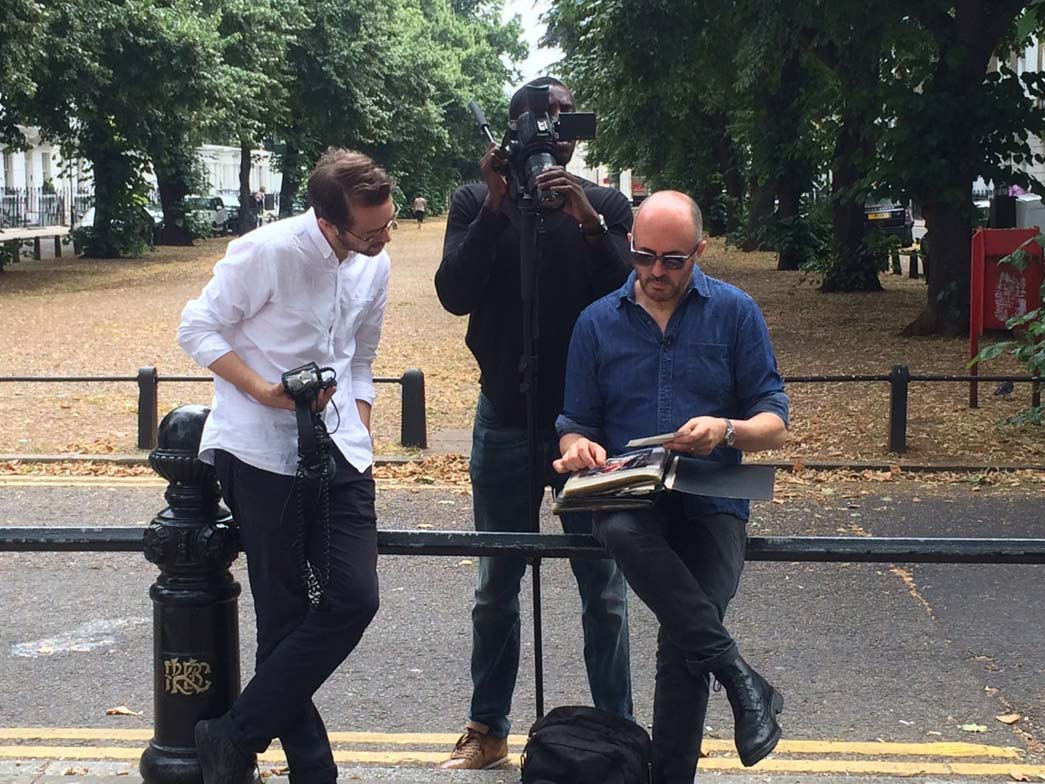 Mick Hurd being intereviewed by Punk film-makers in Wellington Square, Chelsea.