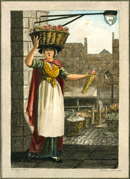 Image of a strawberry seller, with Covent Garden market in the background. Originally published as a series of 31 prints with drawings by W.M. Craig and engraved by Edwards.