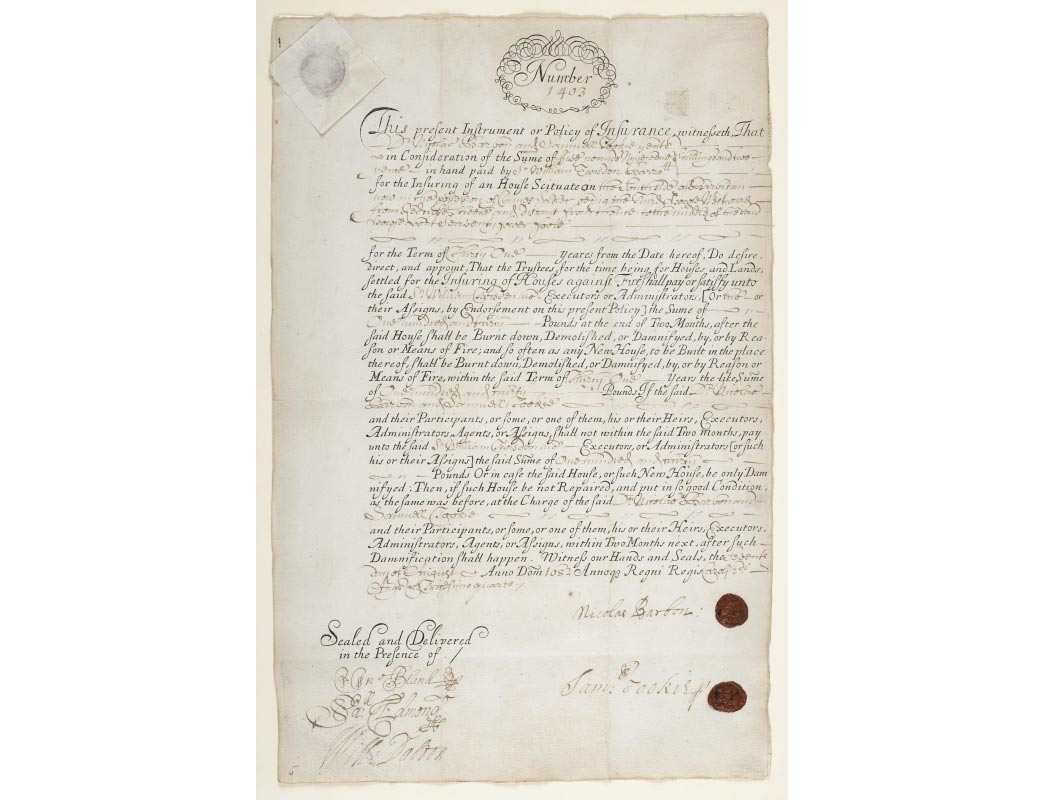 Insurance document protecting home from fire in 1680.