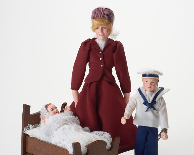 Doll showing Diana, Princess of Wales and her two children.