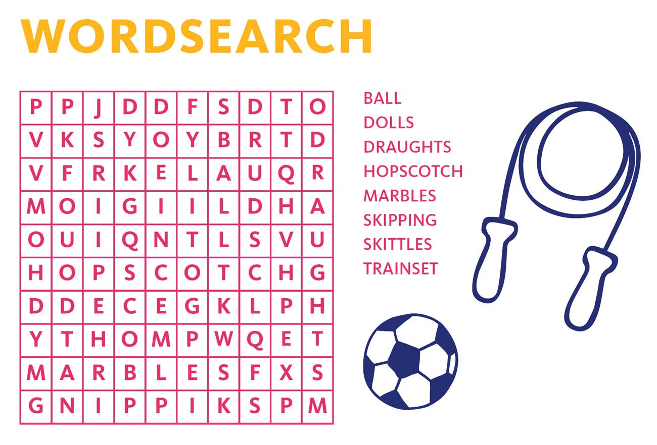 Words to find include 'Balls', 'Dolls' and 'Draughts'.
