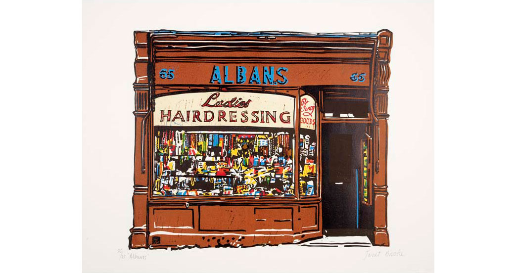 Linocut by Janet Brooke showing the shopfront of Albans Ladies Hairdressing. One of a group of prints the artist made to record disappearing East End shops and trades.