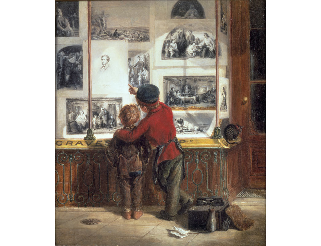 This painting shows a young shoeblack, shoe cleaner and a street urchin outside the shop of printseller Henry Graves at 6 Pall Mall. The elder boy wears the uniform of the London Shoeblack Brigade, founded by John MacGregor and Lord Shaftesbury in 1851. He is pointing at a portrait of Shaftesbury, and is perhaps recruiting the 'lost' younger boy into the safety of the Brigade.