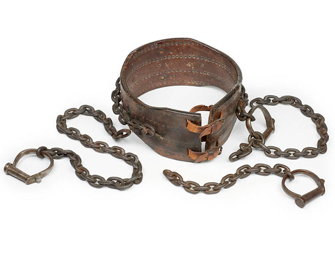 This belt and chains was worn by Muriel Matters during the 'Grille Incident.' Once freed from the grille by a blacksmith, Muriel joined fellow Suffragettes protesting outside the Houses of Parliament. She was one of 14 members of the Women's Freedom League subsequently arrested on a charge of obstruction and sentenced to one month's imprisonment in Holloway.