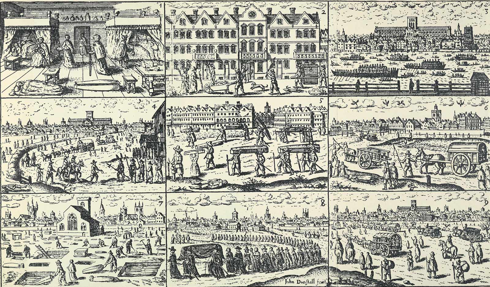 In 1665 London was struck by a terrifying plague that killed around 100,000 people. The text summarises bills of mortality (lists of the number of dead) in the 1665 and previous plague visitations.