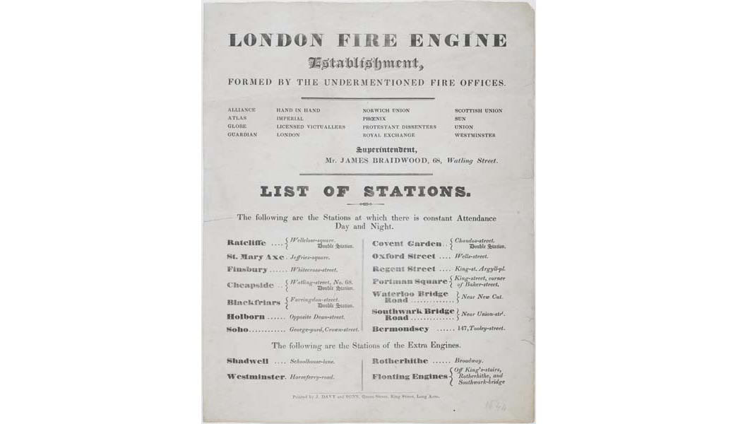 Poster listing continuously manned London Fire Brigade stations.