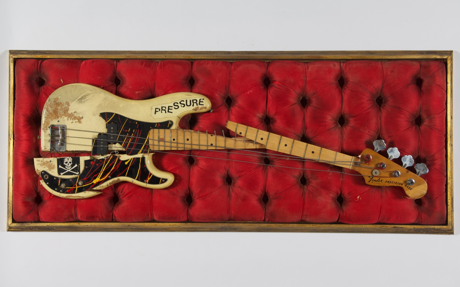 Paul Simonon's broken bass guitar (c) The Clash archive Cropped.jpg