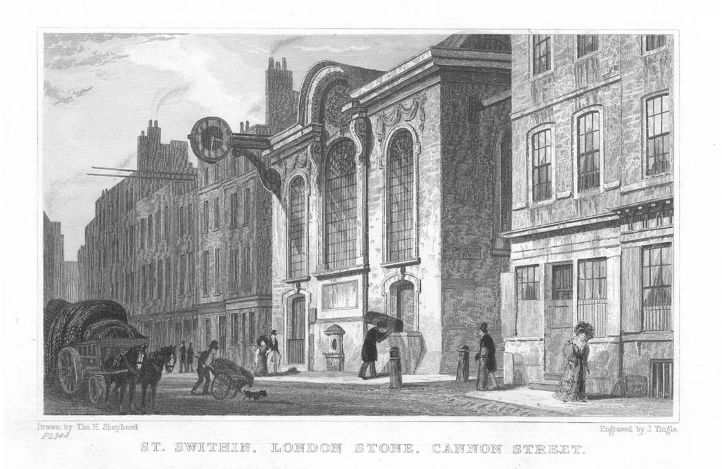 St Swithin's Church and London Stone Cannon Street.