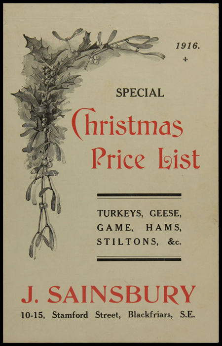 Sainsbury's Christmas leaflet, 1916. Copyright Museum of London/Sainsbury Archive.