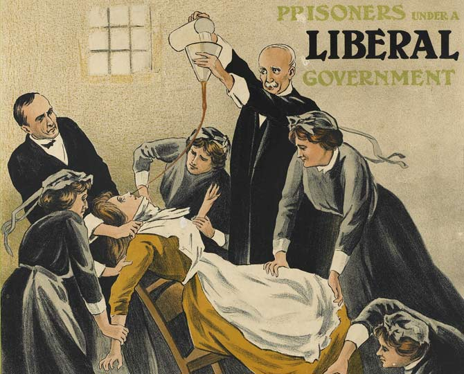 Excerpt from a political poster showing force-feeding of Suffragette prisoners.