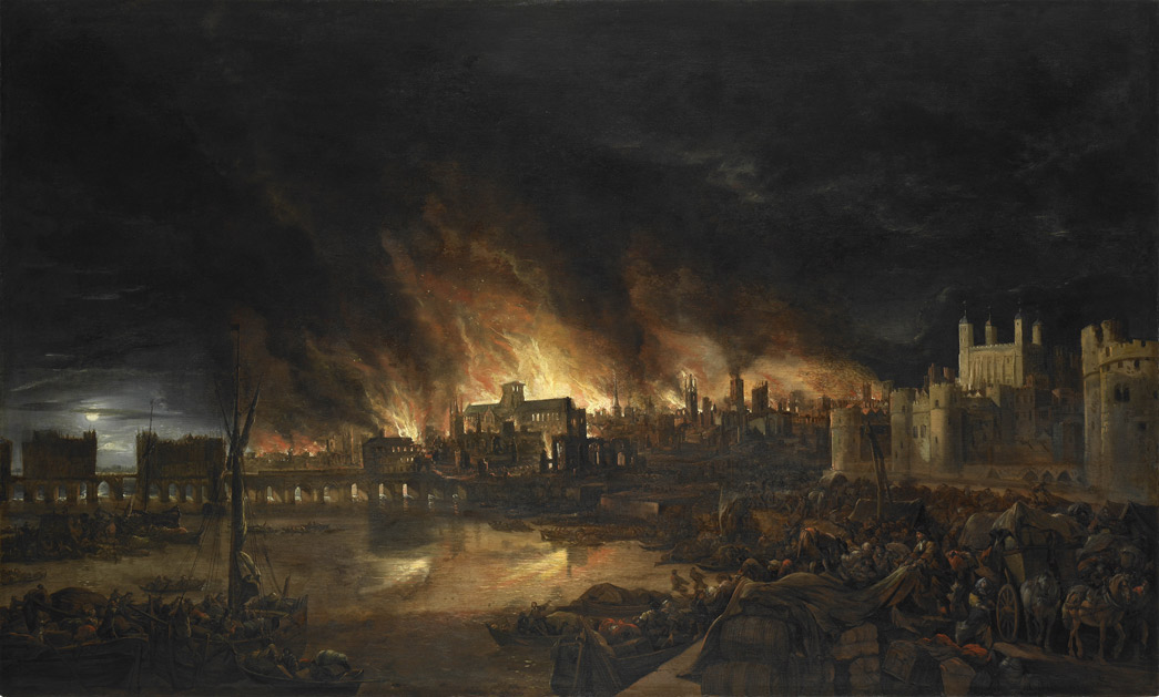 The Great Fire of London. This painting shows the great fire of London as seen from a boat in vicinity of Tower Wharf. The painting depicts Old London Bridge, various houses, a drawbridge and wooden parapet, the churches of St Dunstan-in-the-West and St Bride's, All Hallow's the Great, Old St Paul's, St Magnus the Martyr, St Lawrence Pountney, St Mary-le-Bow, St Dunstan-in-the East and Tower of London. The painting is in the syle of the Dutch School and is not dated or signed.