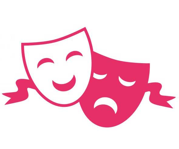 Illustration of Greek tragedy drama masks in pink.