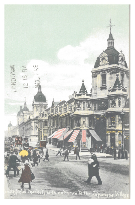 Postcard showing Harts Corner at Smithfield General Market, nicknamed