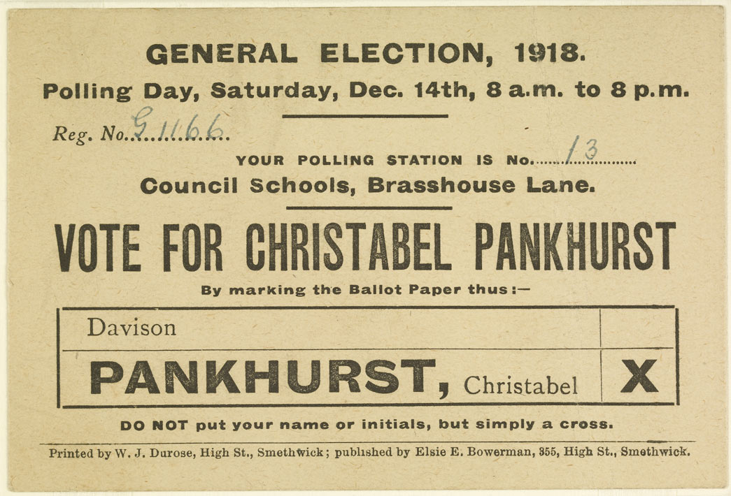 Postcard issued as a campaign flyer for the General Election 1918, urging the electorate to vote for Christabel Pankhurst on Polling Day, Saturday December 14th 1918.