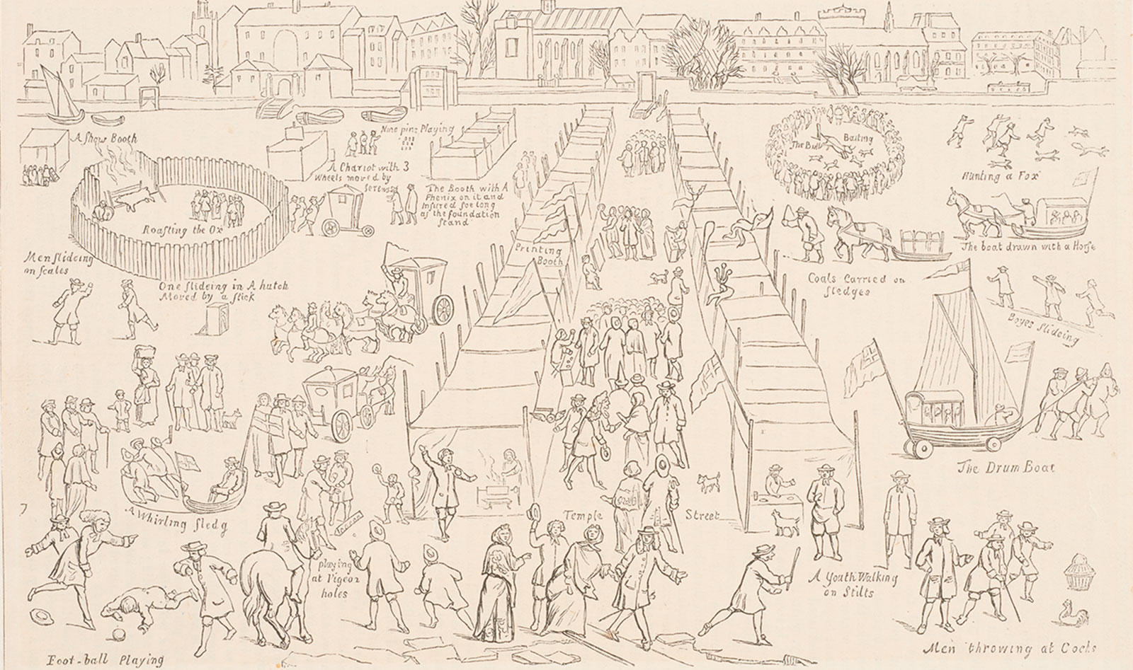 View of a frost fair on the Thames in 1684 showing 'foot-ball' being played in the bottom left hand corner. This etching was probably made in the nineteenth century but is based on an engraving of 1685