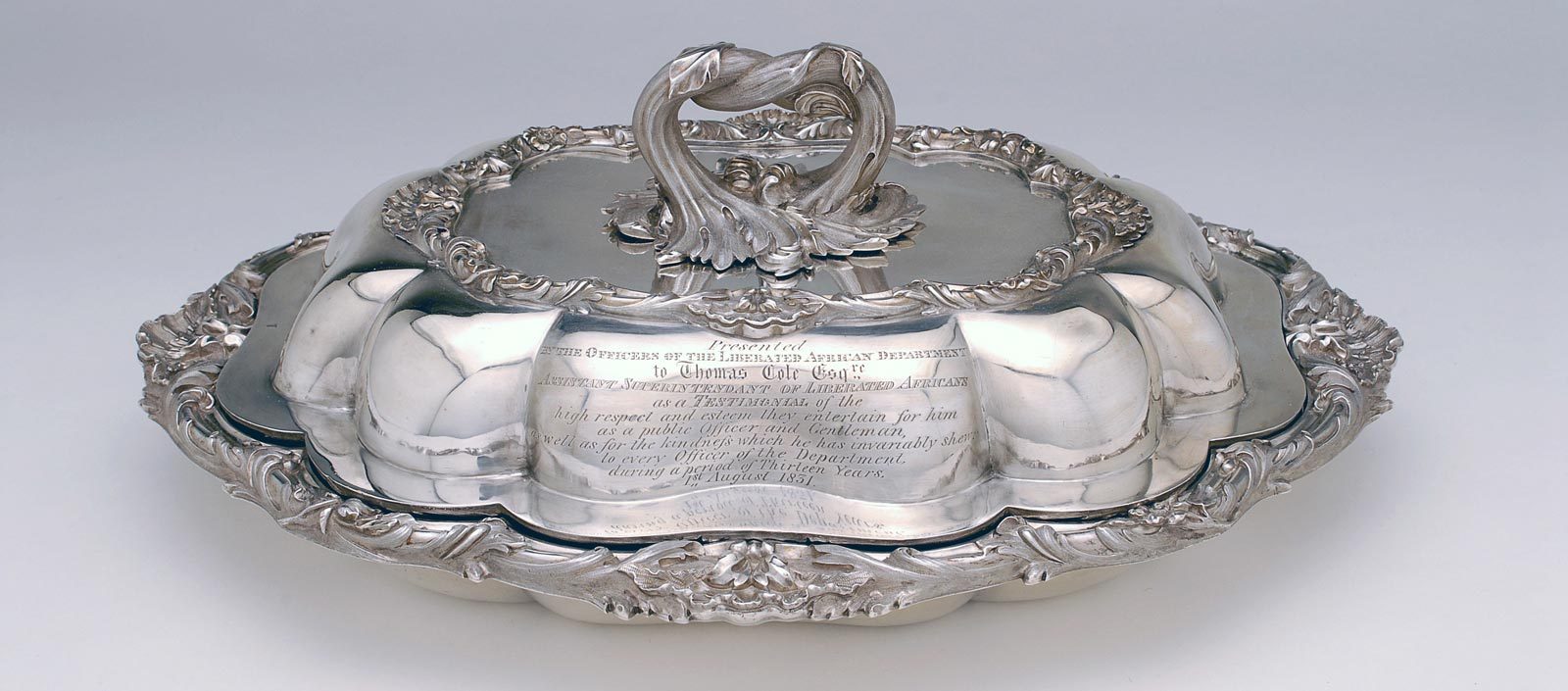 Silver dish presented to Thomas Cole on 1 August 1831 by the Officers of the Liberated African Department